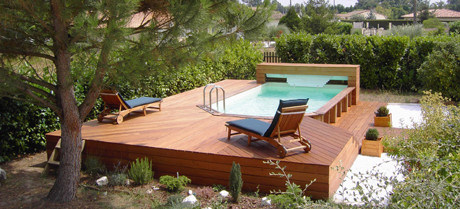 Manufacturer of swimming pools wooden pool wood line for Volet roulant piscine