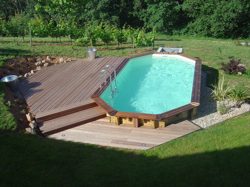 Piscine bois semi enterr e 6x3 for Piscine semi enterree bois hexagonale