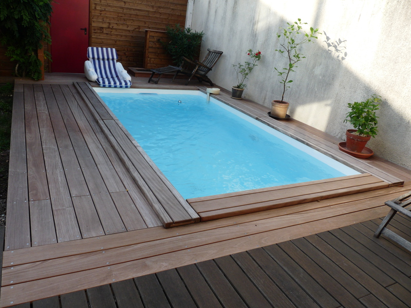 piscine bois rectangulaire semi enterree