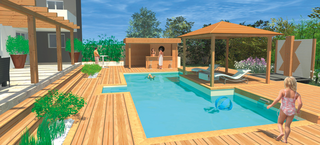 Custom built pools wood line manufacturer of wooden for Piscine en kit 10m2